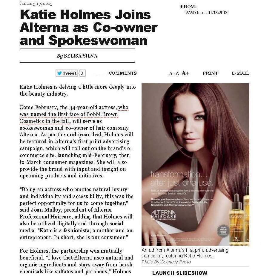 Katie Holmes joins Alterna as Co-owner & Spokeswoman